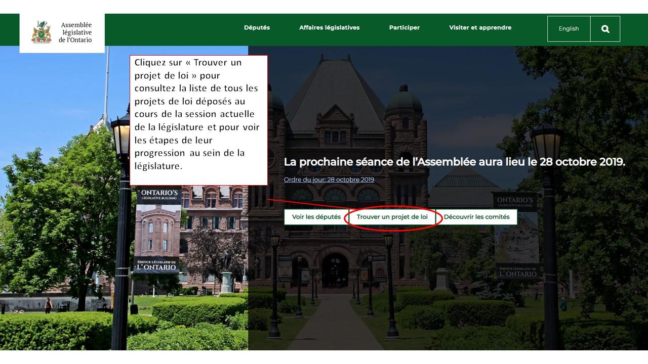 Capture d'écran du site de l'Assemblée legislative de l'Ontario.
