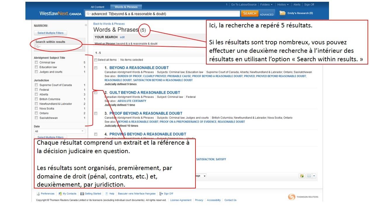 Capture d'écran d'une page de résultats de LawSource sur le site de Westlaw Canada.