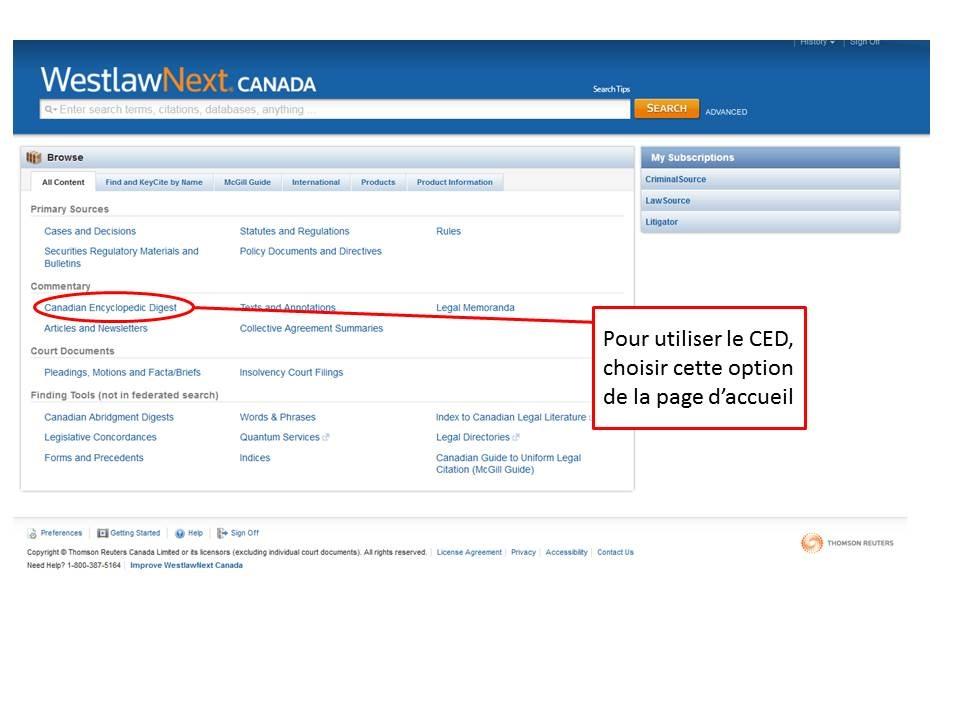 Une capture d'écran de la page d'accueil de LawSource sur Westlaw Canada.