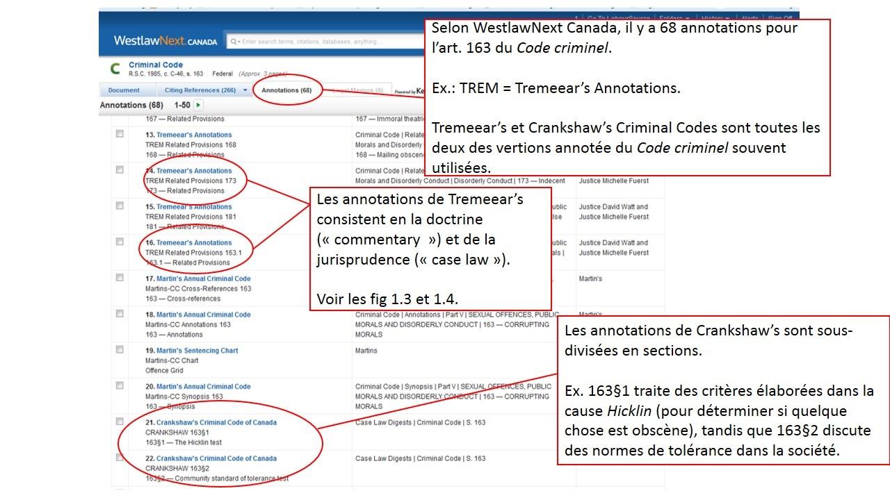 Capture d'écran des annotations de l'article 163 du code criminel sur le site de Westlaw.