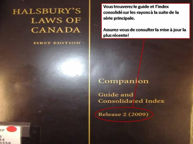 Une photo du couvert du Halsbury's Laws of Canada.