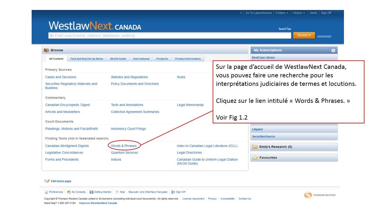 Capture d'écran de la page d'accueil de LawSource sur le site de Westlaw Canada.
