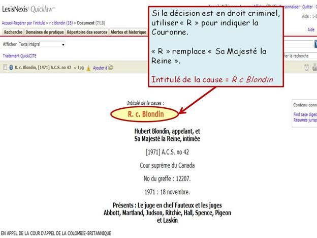Capture d'écran d'un résultat sur la page de LexisNexis Quicklaw.