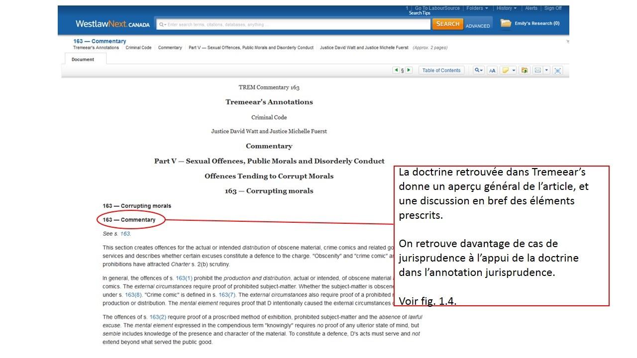 Capture d'écran du TREM Commentary de l'article 163 du code criminel sur le site de Westlaw.