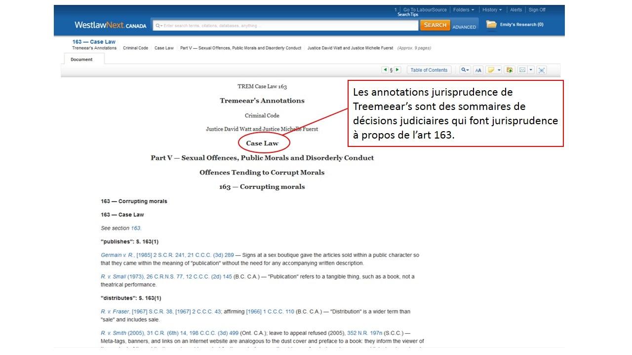 Capture d'écran du TREM Case Law de l'article 163 du code criminel sur le site de Westlaw.
