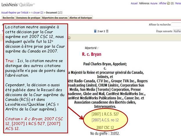 Capture d'écran d'un résultat sur la page LexisNexis Quicklaw.