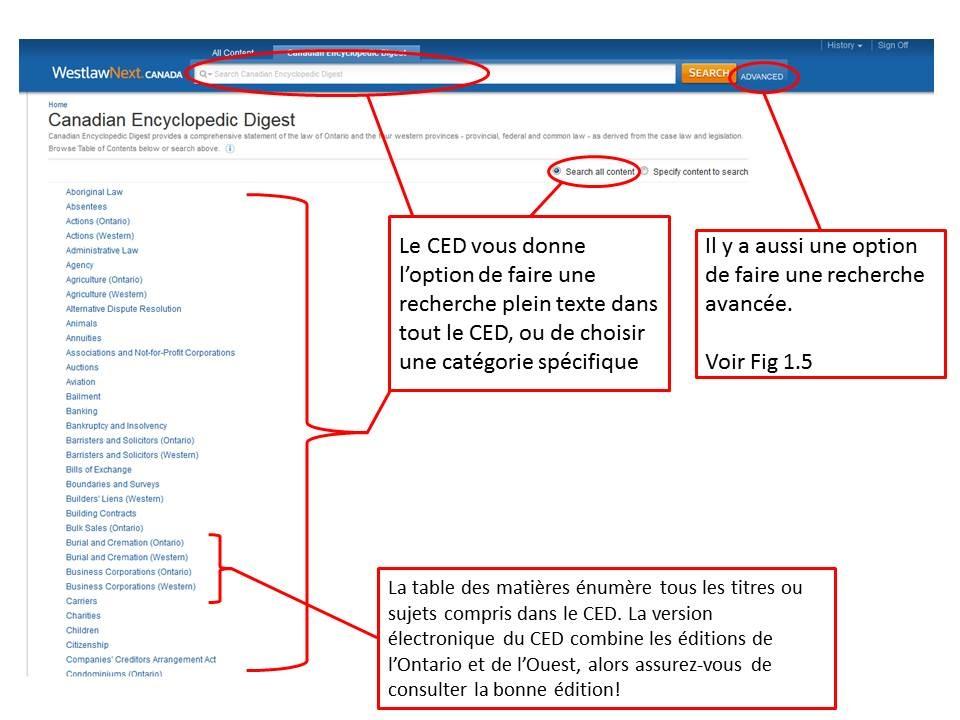 Une capture d'écran de la table des matières sur le site de LawSource sur Westlaw Canada.