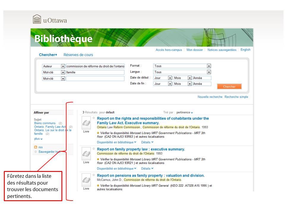 Capture d'écran de résultats de recherche sur le site du Réseau de bibliothèques à l'université d'Ottawa.
