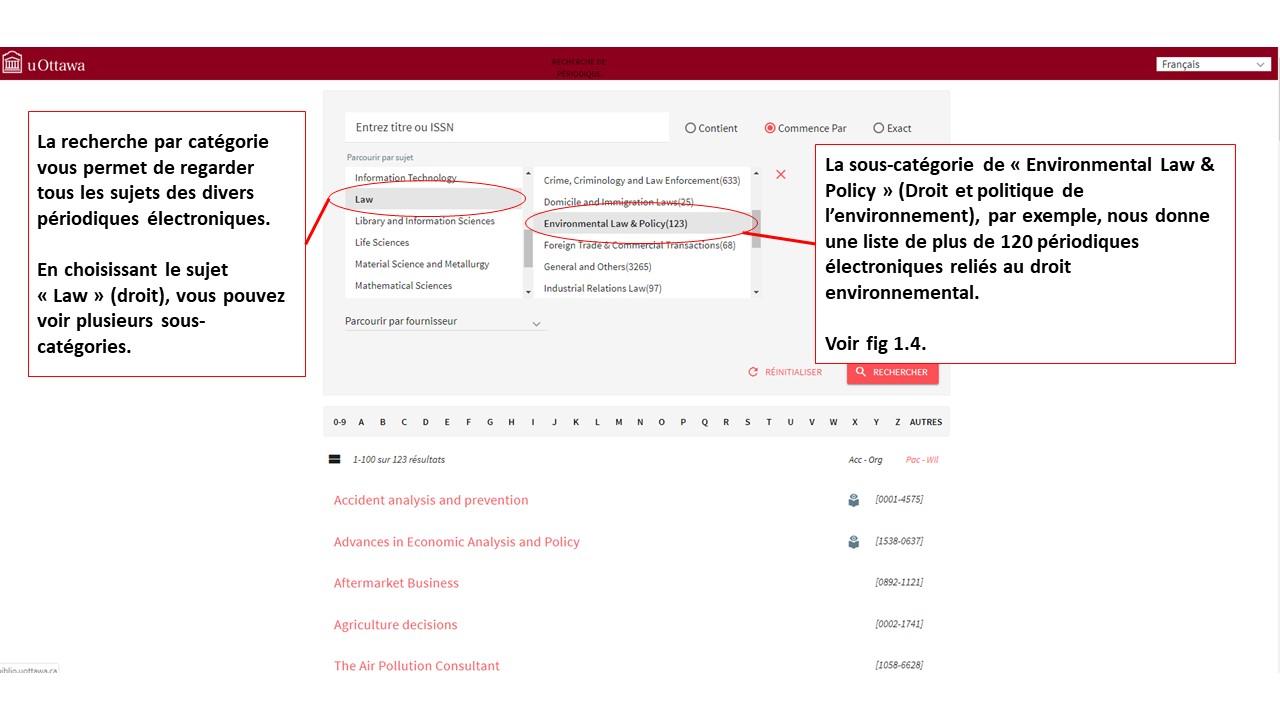 Capture d'écran de la page de recherche de périodiques sur la page Bibliothèque uOttawa.