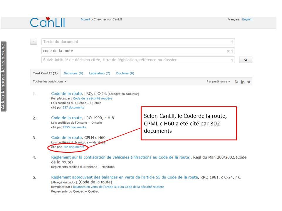 Capture d'écran de résultats de recherche CanLII