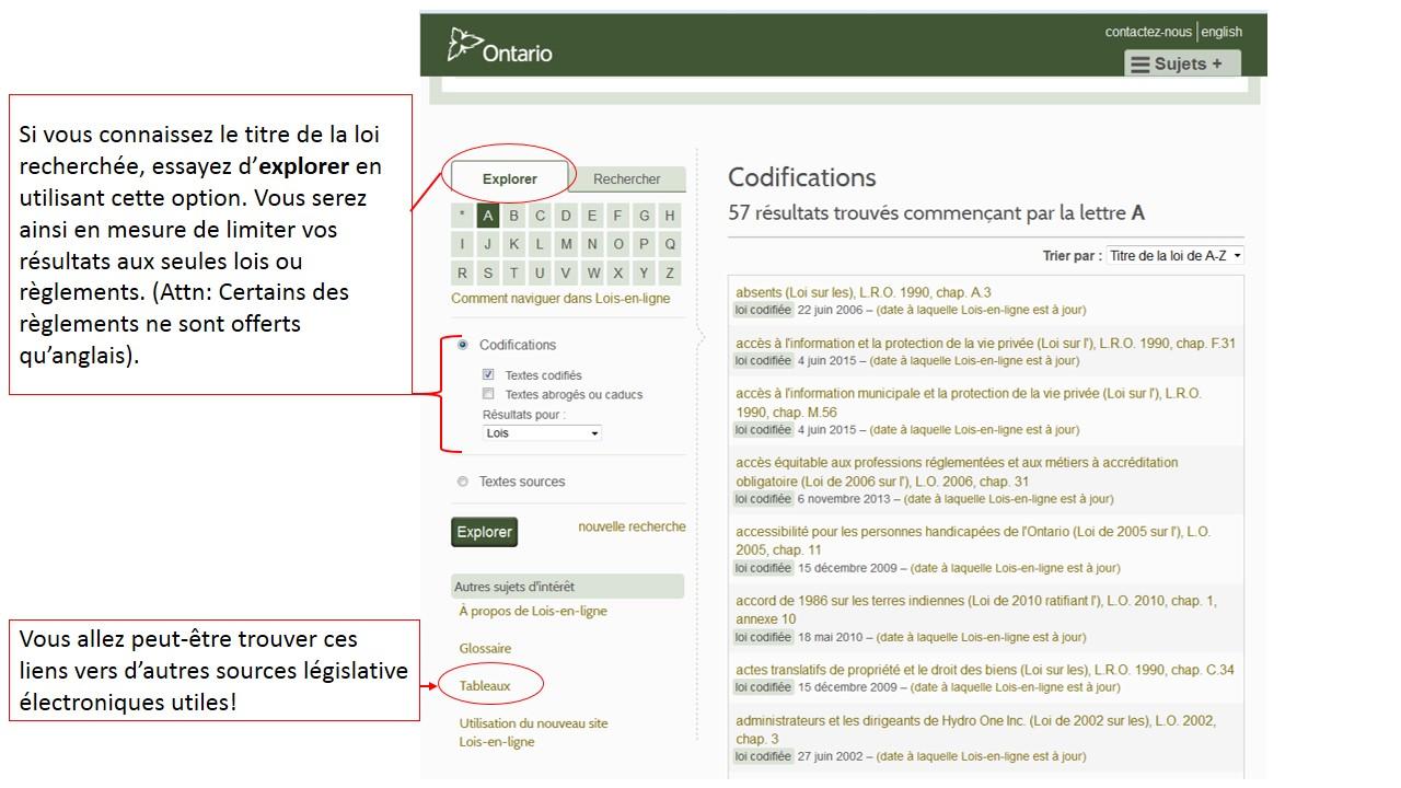 Une capture d'écran de la page de recherche du site Lois-en-ligne.