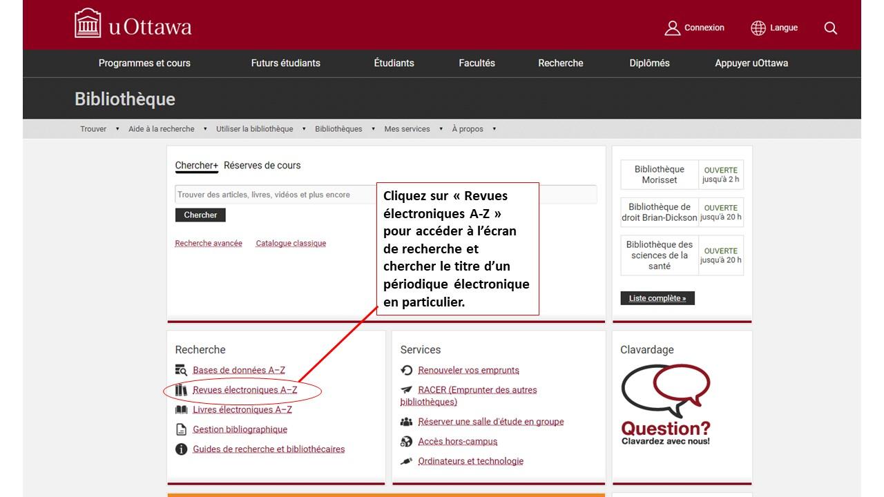 Capture d'écran de la page d'accueil du site de la Bibliothèque de droit Brian-Dickson.