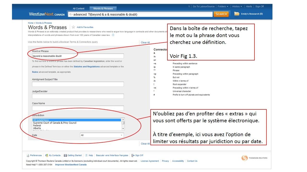 Capture d'écran de la page de recherche de LawSource sur le site de Westlaw Canada.